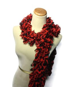 Red Scarf Ruffle Scarf Red Ruffle Scarf Knit by ArlenesBoutique, $30.00