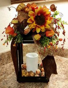 Fall Pumpkin Lantern Swag,Sunflower Lantern Swag,Rust Sunflower and Fall Leaf Ribbon Lantern Swag, Lantern Swag, Thanksgiving Swag by SouthTXCreations on Etsy