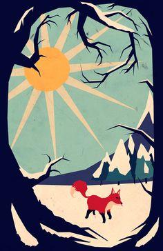 Fox roaming around II Art Print by Yetiland | Society6
