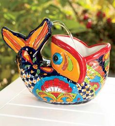 a designer + a contractor: friday fun find: talavera fish fountain - Unique Handmade Pottery - indoorwaterfountains Talavera Pottery, Ceramic Pottery, Mexican Art, Mexican Style, Indoor Water Fountains, Sgraffito, Handmade Pottery, Decorating Your Home, Apartments Decorating