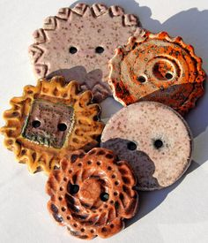 Handmade RAKU Ceramic Buttons SET OF 5 by LisaPetersArt on Etsy, $23.00