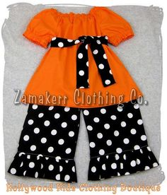 Toddler Halloween Outfits Peasant Top Black Polka Ruffle Pant Outfit