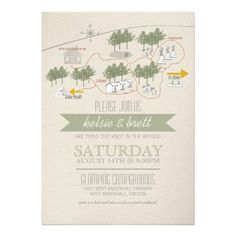 Campground Map Camping Wedding Invite