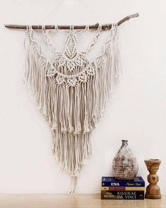 Handmade unique macrame wall hanging on driftwood. It is made with cotton cord and is a unique piece. The driftwood is from the beach called Agiasmata in the Northern part of Chios, Greece.