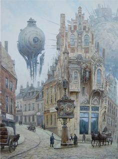 Стальная луна Steampunk Artwork, Steampunk Airship, Dieselpunk, Steampunk Fashion, Fantasy City, Dark Fantasy Art, Fantasy World, Steampunk Illustration, Illustration Art