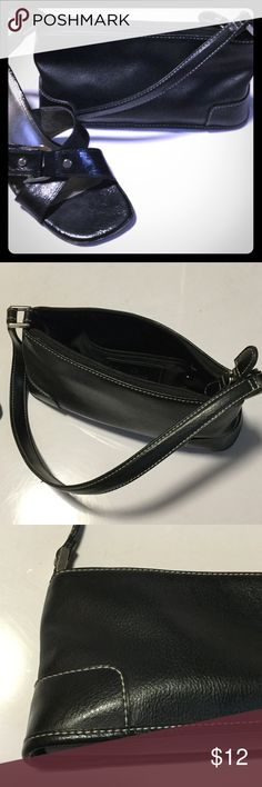 "SALE🎈 LIZ CLAIBORNE Mini Purse Versatile black faux leather mini bag, with contrasting white stitching and silver hardware.  10""w x 3""d x 4.5""t.  Lined with inner zip pocket. Liz Claiborne Bags Mini Bags"