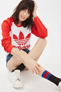 Red sleeve raglan with large trefoil logo on the chest By Adidas Originals. #Topshop
