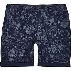 Blue indigo floral shorts $30.00