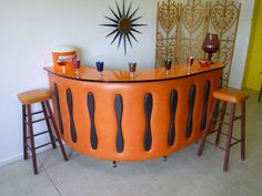 Orange Retro 1970s Cocktail Drinks Bar Mid Century ATOMIC era @Kirsty Purple