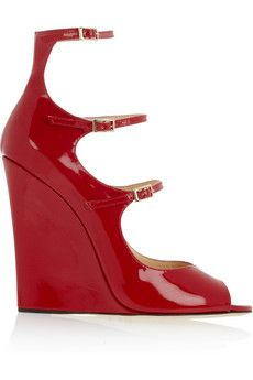 Jimmy Choo: Giovanna patent-leather wedge sandals