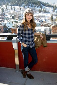 keri russell-mountain style. Plaid and worn in boots:)
