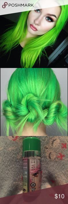 ☘️ᎶᏒᎬᎬᏁ Semi-Perm Hair Dye ☘️ᎶᏒᎬᎬᏁ fᏞᎾᏒᎬsᎬᏁᏆ - Semi permanent fluorescent green spray hair dye. Brand-new never opened. Made by Hot Hair: bright fluorescent green color. Easy spray and comes out in 2 to 3 washes. Get that bright green hair color  for that fun Friday night! Hot Hair  Makeup