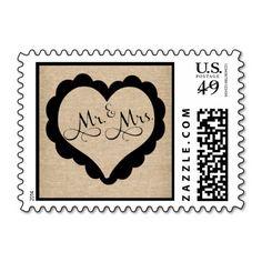 Mr. and Mrs. Burlap Wedding Postage Heart