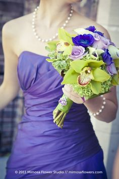 Gorgeous green orchid wedding bouquet. LOVE these colors