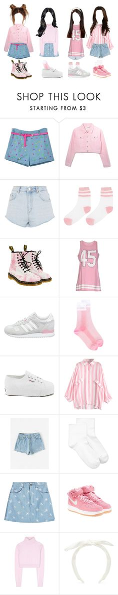 """""""//cupid - """"stolen love"""" debut stage//"""" by cupid-official ❤ liked on Polyvore featuring Topshop, Dr. Martens, Pinko, adidas Originals, GCDS, Superga, Hue, Marc Jacobs, NIKE and Balmain"""