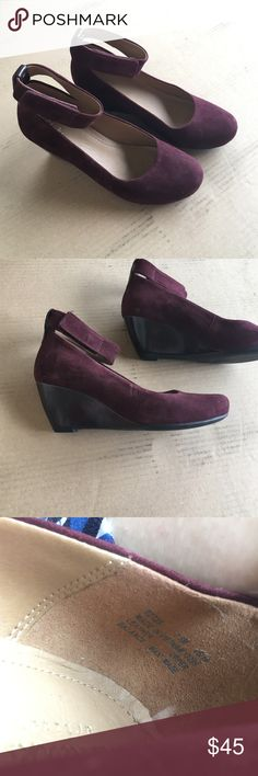 Clarks Artisan wedges, burgundy. Never worn. Never worn Clarks Artisan ankle-strap wedges in burgundy suede (genuine leather). Very soft leather insole. Women's Size 7.5M.  (The color is burgundy, which is a purple-maroon color). Clarks Shoes Wedges