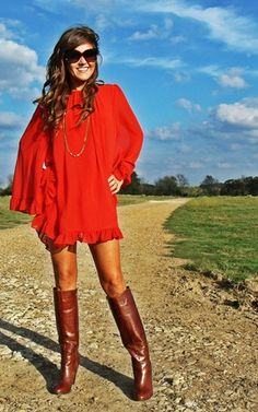Rust Chiffon Swing Dress.. Love the boots//  I CANNOT WAIT to be tan again (I type that watching snow fall.....)  C'mon SUMMER!!!!!