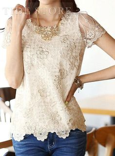 New Arrival Plus Size Short Sleeve Lace Blouse With Bead: tidestore.com