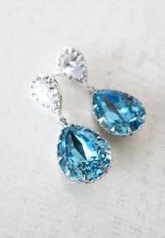 Cubic Zirconia Teardrop Swarovski Aquamarine blue Crystal Teardrop Earrings, Bridesmaid Earrings, Bridal Jewelry, Wedding Jewelry, by GlitzAndLove on Etsy, www.glitzandlove.com