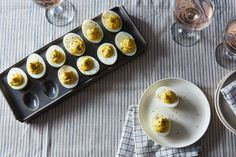 Virginia Willis' Deviled Eggs Recipe on a recipe on temp. butter, mayo, s and p, herbs Devilled Eggs Recipe Best, Deviled Eggs Recipe, Cold Appetizers, Recipes Appetizers And Snacks, Italian Appetizers, Party Snacks, Party Party, Party Time, Best Egg Recipes