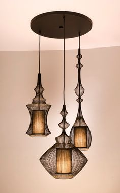 3-PORT CANOPY- SHINE LABS, MOIRE WIRE PENDANTS.