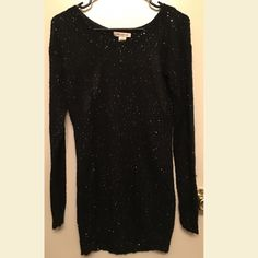 Beautiful Long Sweater This elegant and sexy sweater is in perfect condition! Worn once and looks great with a pair of leggings/tights. The dress does have two openings on the sides of the back & has sparkling sequin throughout  Arden B Sweaters