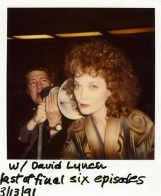 Grace Zabriskie (Sarah Palmer) and David Lynch on the set of Twin Peaks