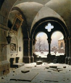 "Carl Georg Adolph Hasenpflug (German, 1802-1858), ""Verfallene Kapelle/Ruinous Chapel"" (1845) Oil on canvas, 61 x 72,5 cm Greifswald, Pommersches Landesmuseum"