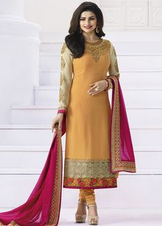 Prachi Desai Yellow Straight Cut #Salwar #Suit online with heavy resham embroidery and patch border.