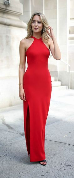 Red high neck gown for a company charity gala, professional formal attire or any black tie event {likely, elizabeth and james, louise et cie, classic style}