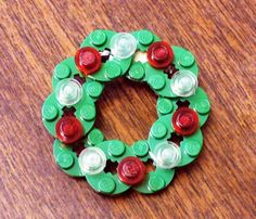 LEGO Wreath with Ornaments by FoldedFancy on Etsy, $10.00