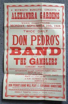 John Guy/Don Pedro advertising poster Weymouth Pavilion. letter to Kelvin Hall