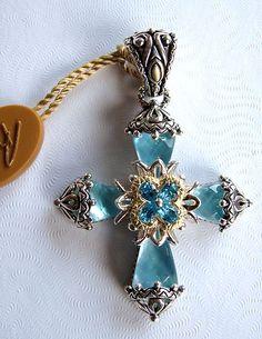 Barbara Bixby Silver 18K Blue Topaz Mother of Pearl Doublet Cross Enhancer | eBay