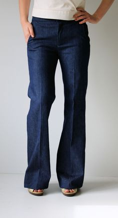 I want denim trousers that look exactly like this.