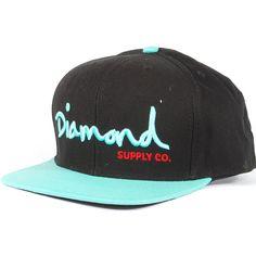 Diamond Og Script Snapback Hat (Black/Diamond Blue) $39.95