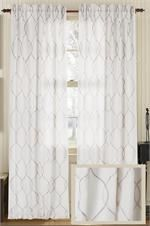 embroidered wave amore luxury linen curtain panel