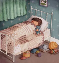 Antonia Woodward Illustration - antonia, woodward, antonia woodward, commercial, trade, picture book, picturebook, novelty, sweet, fiction, traditional, painted, child, person, boy, sleeping, cute, sleep, night, nihgt time, bed, bedroom , room, teddy, toys, patttern, curtains, cars, elephant, rocket, ball, blanket, sweet, young