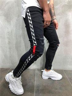 Men Skinny Fit Ripped Thlines Short Ankle Jeans - White 3832 - 33 x 29 Pantalon Streetwear, Streetwear Jeans, Streetwear Fashion, Denim Jeans Men, Jeans Pants, Ripped Jeans, Ankle Jeans, Slim Jeans, Denim Joggers