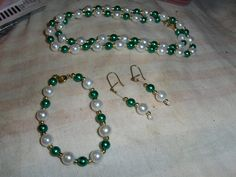 """""""Christmas Green On 8mm Mini Pearls"""" 3 piece set --- LIMITED QUANTITY -- $5.00 + $3.00 shipping in the USA"""