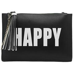 Happy Sad Flat Clutch (€45) ❤ liked on Polyvore featuring bags, handbags, clutches, tassel purse, wristlet clutches, wristlet handbags, black and white purse and strap purse