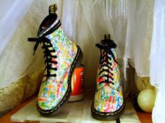 Vintage Unusually Bright and Colorful Dr Martens Original 8 Up Combat Boots UK 4 / USA Mens 5 or Womens 6 - 6 1/2 Made In England.