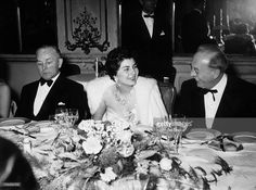 Empress SORAYA of Iran at a diner with Social-Democrat prime minister from Bavaria Dr Wilhelm HÖGNER (right) and Christian-Democrat president Hane ERHARDT (left). The prime minister gave a reception at the honour of Queen SORAYA in Bavaria, Germany.