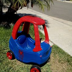 spiderman cozy coupe | Cozy coupe Spiderman makeover | Crafts/DIY
