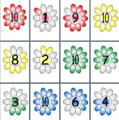 KS1 matematika Erőforrás, száma Kötvények és 10 között Virágok, nyomtatható megjelenítése