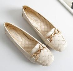 Women Flats Shoes Metal Decoration Patent Leather Square Toe Flat Moccasins Ladies Office Boat Shoes Color see chart Shoe Size 5 Driving Loafers, Driving Shoes, Womens Summer Shoes, Womens Flats, Girls Sandals, Casual Loafers, Kinds Of Shoes, Beautiful Shoes, Boat Shoes