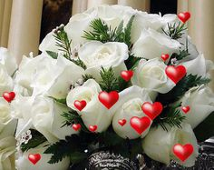 Bouquet of white roses Beautiful Gif, Beautiful Roses, Beautiful Pictures, Valentines Gifts For Her, Valentine Treats, Rosas Gif, Rosa Coral, Gif Collection, 3d Pictures