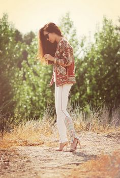 embroideried jacket and jeans