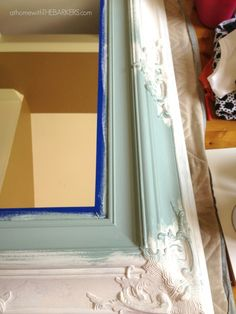 Mirror Makeover- Layering paint colors. Brilliant tutorial on layering colors and using dark and clear wax!