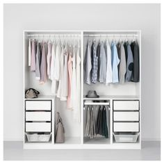 PAX Wardrobe, white, Forsand Vikedal, 78 This wardrobe combination is just as good looking on the outside as it is clever on the inside. Pax Closet, Ikea Pax Wardrobe, Ikea Closet, Diy Wardrobe, Bedroom Wardrobe, Wardrobe Design, Bedroom Closet Design, Home Decor Bedroom, Armoire Pax