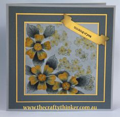 I painted the flowers with Basic Grey and Daffodil Delight inks on Smoky Slate cardstock. Birthday Blossoms Yellow & Grey